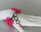 Hot Pink Bracelet, Multi Strand Bracelet, Neon Pink and Black, Hammered Metal Bracelet