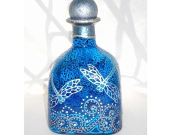 Dragonfly Patron Bottle Hand Painted Decanter Art on Glass, Message in a Bottle