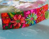 Frayed and Twisted Beaded Psychedelic Flower Power Barrette
