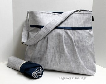 Monterey Large Diaper Bag Set - In Heath Crosshatch in Grey with Navy Or Design Your Own - Adjustable Strap and Elastic Pockets