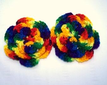 Crochet flower motif 4 inch  set of 2 flowers mexicana acrylic yarn