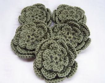 Appliques flowers  2.5inch cotton set of 5 moss green