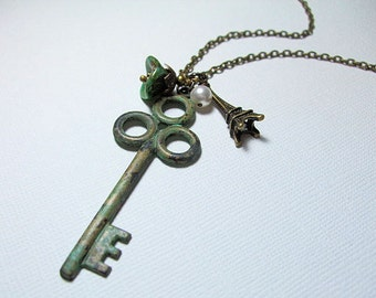 Skeleton Key Necklace Verdigris, Extra Long, Paris Jewelry, Gift for, Her, Wife, Girlfriend, Mom, Sister, BFF, Daughter