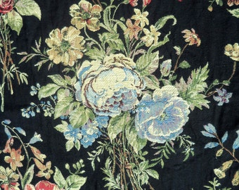 Upholstery Fabric, Black with Cabbage Roses, Beautiful, By the Yard, Two Yards Available