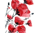 Poppies field on a windy day, print of water color, Poppies art, valentine gift, anniversary, mothers day, Red, Black, poppies print