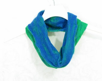 Felted Cowl Wool Cowl Gift for Her  Infinity Scarf Circle Scarf Felt Scarf Wool Scarf Cobalt Blue Green Winter Scarf Fall Scarf Womens Scarf