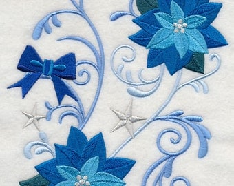BLUE POINSETTIA & BOWS - - Machine Embroidered Quilt Blocks (AzEB)