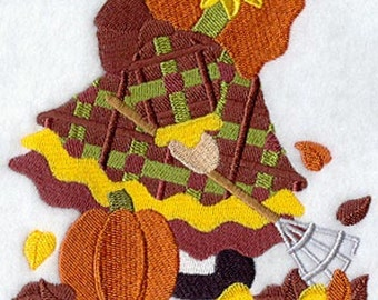 SUNBONNET SUE OCTOBER (Large) - Machine Embroidery Quilt Block (AzEB)