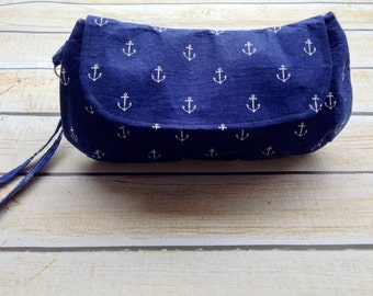 Monogrammed Ruffle Clutch, Diaper clutch, Make up bag READY TO SHIP