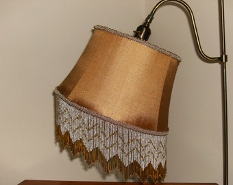 Gold Silk Gooseneck UNO Lampshade with Glass Fringe