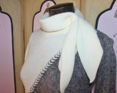 Vintage 80's Sweater in Cream and Multi with Scarf Tie. Small Petite.