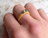 Celluloid and Rhinestone Ring