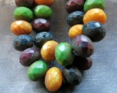 LAST ONES Harvest Blend . Czech Picasso Glass Beads (10 beads) 6 by 8 mm