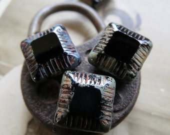 SALE  Black Quilted Squares . PICASSO CZECH Glass Beads (5 beads) 13 mm
