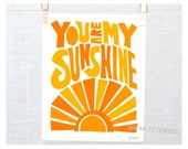 You Are My Sunshine, Posters and Prints, Typography, Nursery Print, Wall Art, Kids room decor, Mother's Day, Mothers Day, Kitchen Art Print