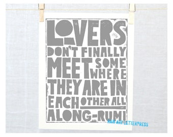 Valentine's Day Gift, Rumi, Gift for Him, Gift for Her, Couples, Sentimental Gift, Lovers quote, Bedroom Decor, Wedding, Wall Art