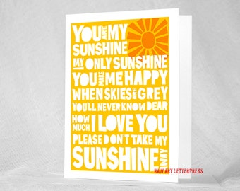 You are My Sunshine Greeting Card, Birthday Card, Get Well Card, Note Card, I Love You,