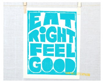 Kitchen Art Inspirational Sign Family Posters Eat Right      Feel Good