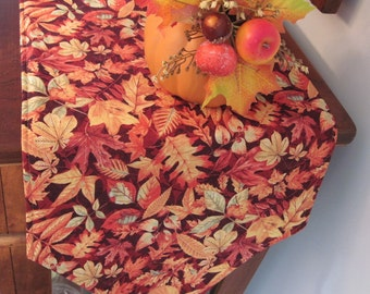 "Burgundy Fall Leaves Table Runner 54""  Autumn Table Runner Thanksgiving Table Runner Fall Table Runner Burgundy Table Runner"