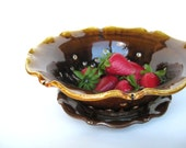 Berry bowl with a saucer in brown and honey, IN STOCK