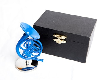 """Decorative 4"""" Blue French Horn with Case, inspired by How I Met Your Mother"""