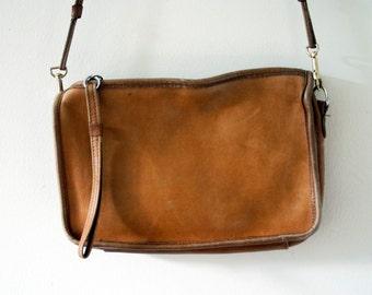 Vintage 1980s Camel All Leather Coach Inspired Shoulder Bag