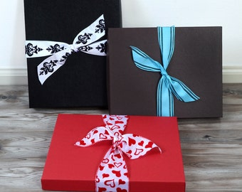 Premium Gift Wrap Box with Designer Ribbon Choices and Hand Written Gift Card for Christmas Holiday - Wedding - Gift Wrapping