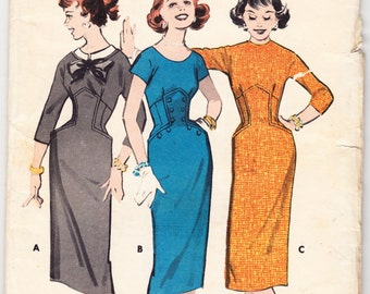 Vintage 1959 Butterick 8296 UNCUT Sewing Pattern Junior and Teen Panel Front Dress Size 11 Bust 31-1/2