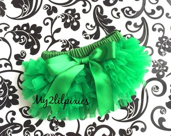 GREEN BLOOMER with Satin bow, Ruffle Diaper Cover, Baby Bloomers, Ruffle Bloomer, Newborn Bloomer, Chiffon Ruffle Bum Bloomer. Ready to ship