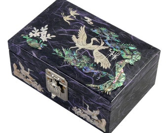 Mother of Pearl Wood Purple Lacquer Jewelry Keepsake Gift Trinket Case Box with Birds and Pine Tree  Design