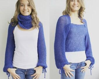 New Season Electric Blue Wrap Bolero Scarf Shawl Neckwarmer gift for Women Girl Mom Christmas gift