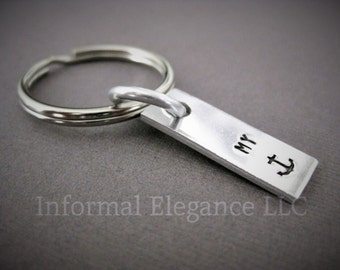 Keychain stamped with MY Anchor (symbol), anniversary gift, birthday gift, boyfriend, husband, Nautical keychain, Gift for Sailor,