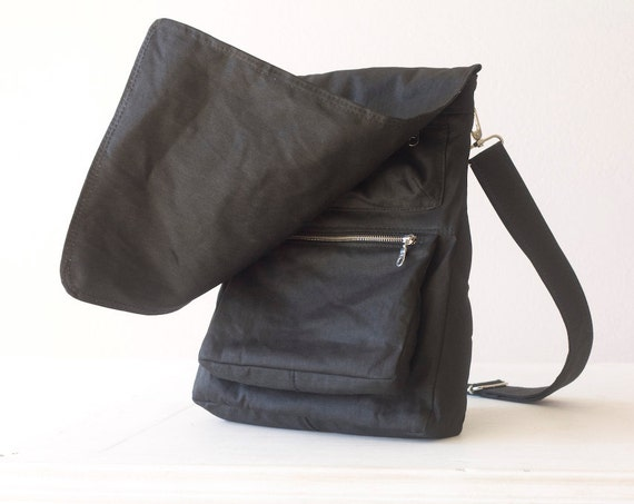 Messenger bag black, shoulder bag backpack bag for men - Talos Bag