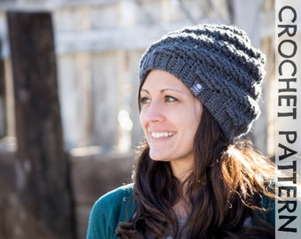 CROCHET HAT PATTERN Snowdrift Slouch - Adults & Kids