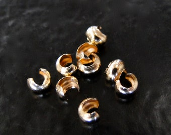 25 Gold Filled Crimp Covers 3.5mm