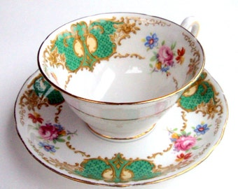 Vintage Porcelain Cup and Saucer, Copeland Spode Grosvenor China, Denbigh Pattern, Discontinued, Green, Tea/coffee, cr. 1920s, England