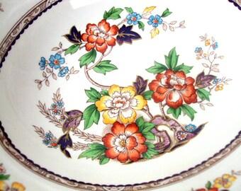 Vintage Grindley England Serving Bowl, Porcelain, Marlborough Royal Petal Pattern, 1950s, Floral Transferware,Vegetable,Dishes, Estate Table