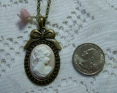 Jane Austen Pendant - PRIDE and PREJUDICE - Jane Austen Portrait Cameo Necklace - Southern Belle - Blush Pink and white