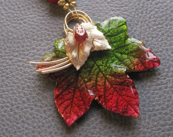 OOAK red, green and gold handpainted preserved leaf necklace with vintage findings - holiday jewelry, gift for her, holiday wedding