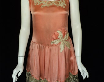 SALE 1920s Coral Silk Gatsby Dress Metallic Embroidered Lace Silk Flower at Waist Period Restrored Wedding Party