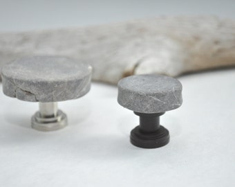 Made to Order - Grey Marble Moon Mosaic Cabinet Knobs Pulls