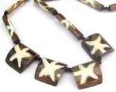 Vintage Necklace, Vintage Batik Necklace, Brown Necklace, Vintage Inlay Necklace, Tribal Necklace, Bohemian Necklace, Vintage Boho