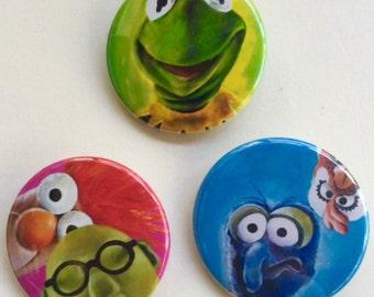 Fan Art Inspired The MUPPETS  Fun 3 Pack Fan Art Pop Art 1 1/2 inch pin button Kermit the Frog, Bunsen Beaker Gonzo Camilla the chicken