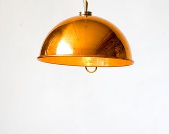 "Copper mixing bowl pendant lights (11"")"