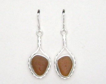 Sea Glass Jewelry - Sterling Brown Sea Glass Earrings