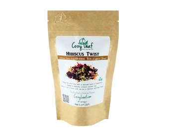 Hibiscus Twist Artisan Organic Loose Leaf Tea by Cozy Leaf