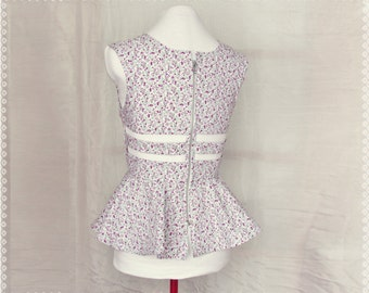 Cage Back Floral Peplum Top - Cute Summer Top, Floral Open Back Top, One of a Kind Clothing, Size Small