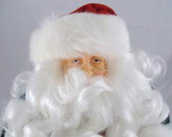 Vintage Santa tree topper, green and red robe, olde world Santa NOS