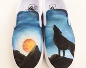 Custom Vans Shoes - Wolf, Blood Moon, and the Stars