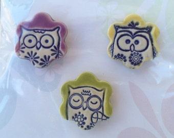 Owl Ceramic Magnets Handmade Office/Teacher Gifts